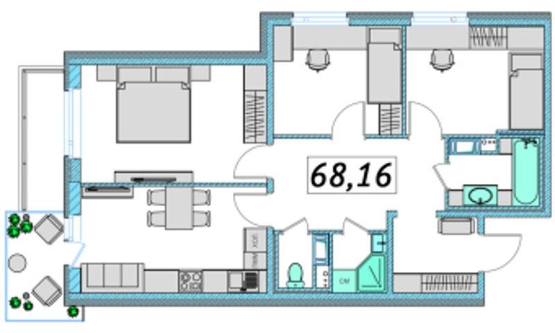 Планировка Трёхкомнатная квартира площадью 68.16 кв.м в ЖК «Ассорти»