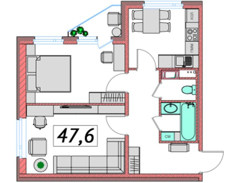 Планировка Двухкомнатная квартира площадью 47.61 кв.м в ЖК «Ассорти»