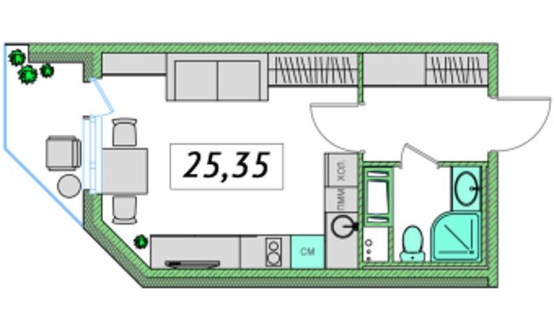 Планировка Студия площадью 25.35 кв.м в ЖК «Ассорти»