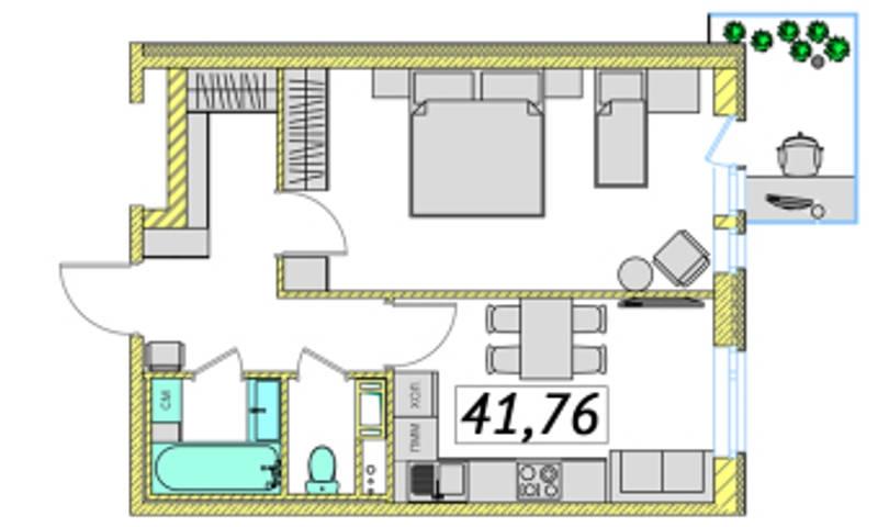 Планировка Однокомнатная квартира площадью 41.76 кв.м в ЖК «Ассорти»