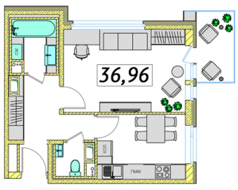 Планировка Однокомнатная квартира площадью 36.96 кв.м в ЖК «Ассорти»