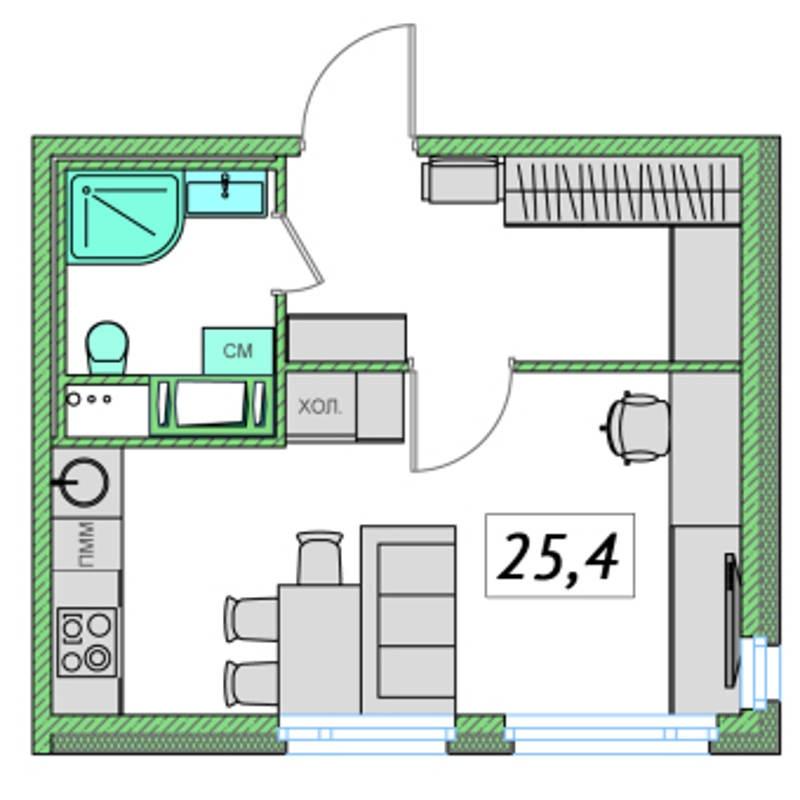 Планировка Студия площадью 25.4 кв.м в ЖК «Ассорти»
