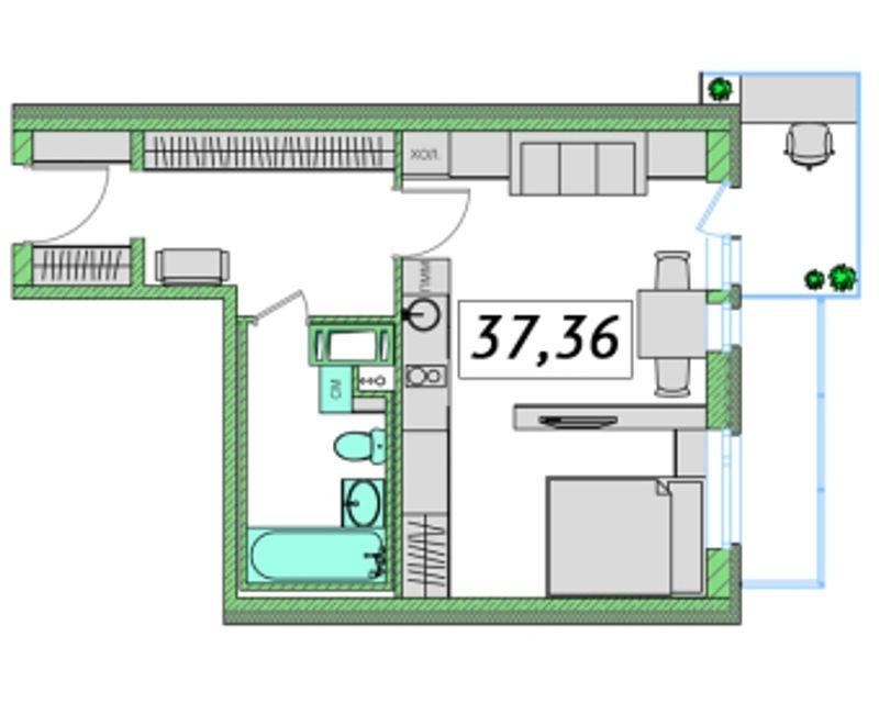 Планировка Однокомнатная квартира площадью 37.36 кв.м в ЖК «Ассорти»